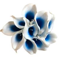blaue blumen für hochzeitsmittelstücke großhandel-Neue Heiße Dekoration Blumen Marineblau Picasso Calla Lilien Real Touch Blumen Für Hochzeitssträuße Mittelstücke