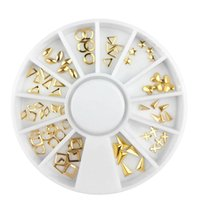 Wholesale square metal studs online - 1box Metal Gold Nail Art Decorations Hollow Square Star Sequins Studs D Manicure UV Gel Polish DIY Nail Ornaments New Design