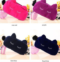 Wholesale korean cat handbag for sale - Group buy Fashion Portable Cute Cat Makeup Bag Large Capacity Cosmetic Bag Flannel Pouch Travel Make Up Storage Handbag