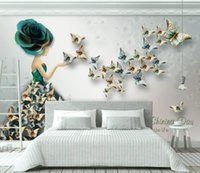 Wholesale butterfly effect resale online - 3D Wallpaper Three dimensional relief butterfly ballet dancer Photo Wall Murals Living Room TV Sofa Home Decor Wall Painting D