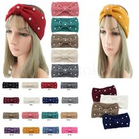 Wholesale knitted ear warmer hat resale online - Winter Warmer Ear Knitted Headband Turban For Lady Women Crochet Bow Wide Stretch Hairband Headwrap Hair Accessories For Girl dc983