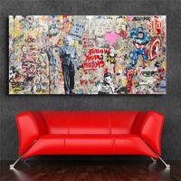 ingrosso pittura murale tela-Mr Brainwash Einstein Mural Banksy HD Wall Art Canvas Poster Stampe Pitture murali a muro per soggiorno ufficio Home Decor