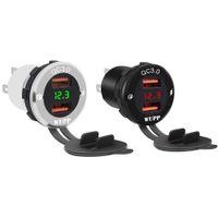 Wholesale led voltmeter motorcycle resale online - DC12 V QC3 Dual USB Port Car Charger Motorcycle ATV Boat Socket Power Adapter with LED Digital Voltmeter Meter Monitor
