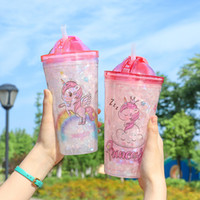 Wholesale children plastic slide for sale - Group buy Student Plastic Cup Seven Colors Lovely Unicorn Pattern Water Bottle Students With Straw Slide Cover Waters Cups bw L1