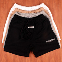 Wholesale flat street resale online - 19SS Mens Summer Shorts Pants FOG ESSENTIALS Embroidered Reflective Casual Fashion Drawstring Running Shorts Fitness High Street