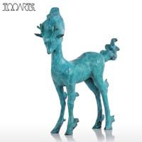 künstliche tiere heimdekorationen großhandel-Tooarts Tomfeel Deer Skulptur Moderne Wohnkultur Künstliche Niedlichen Tier Bronze Statue Dekoration Zubehör