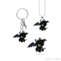 Wholesale metal dragon keychain resale online - How To Train Your Dragon Toothless Night Fury Animal Keychain Necklace For Keys Car Bag Key Ring Handbag Key Chains kids toys