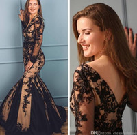 Wholesale evening dress for sale - 2019 New Gold Black Formal Evening Dresses Long Sleeves Lace Appliques Mermaid Prom Gowns Sexy Low Back Vestidos De Soiree Cheap