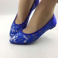кружевные туфли для подружек невесты оптовых-Лето Женщины Blace Шампанское Свадебные туфли на плоской подошве балета кружева цветок Свадебная обувь Подружка невесты Свадебные Dresssize EU35-42