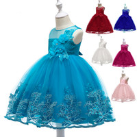 Wholesale rainbow dresses for kids resale online - New Girls Party Dress Kids Rainbow Flower Lace Tulle Dress for Party Wedding Ball Gown Formal Girls Clothing