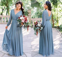 синие платья невесты платья полный рукав оптовых-Пыльный синий страна длинные платья невесты с длинным рукавом 2019 ретро шифон полная длина чешский свадьба гость платье
