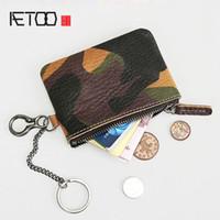 billetera de cuero para hombres al por mayor-BJYL Retro billetera de cuero para hombre mini monedero de camuflaje monedero con cremallera bolso de los hombres bolso de la cintura cintura colgando