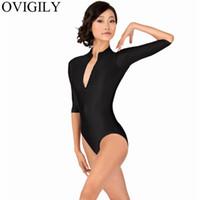 bodysuits nylon mulheres venda por atacado-OVIGÍLIA Zip das mulheres frente 3/4 de malha de manga comprida para ginástica meninas collants de dança negra bodysuits spandex collant de gola alta
