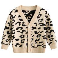 chaquetas infantiles de punto al por mayor-Suéter de leopardo de punto de moda para niños Chaquetas de niños y niñas coreanas Ropa para niños Otoño Otoño Suéter de desgaste