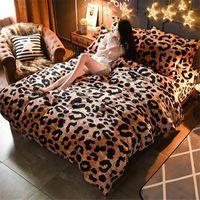 zebra bettwäsche könig großhandel-Mode Frauen Leopard Winter Warm Schleifen Bettwäsche Set / Zebra Königin King Size Fleece Bettwäsche / Bettbezug / Blatt / Kissenbezug