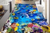 muralas subaquáticas 3d para paredes venda por atacado-[Auto-Adesivo] Mundo Subaquático 3D 232151 Papel De Parede De Chão Mural De Parede De Impressão Decalque Murais De Parede