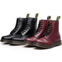 botas de tacón bajo al por mayor-34-46 tamaño nuevo botas de cuero genuino para hombre mujer moda invierno botines de tacón bajo Martin botas de moto