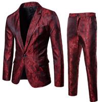 ingrosso feste nuziali rosse del vino-Wine Red Nightclub Paisley Suit (Jacket + Pants) Uomo 2018 Moda monopetto Mens Abiti Stage Party Wedding Tuxedo Blazer 3XL