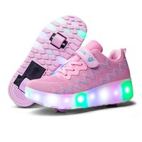 Wholesale wheels for shoes for sale - Group buy RISRICH Kids LED light roller usb shoes for boys girl luminous light up skate sneakers with on wheels kids roller skates shoes