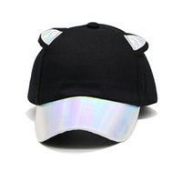 Fashion Fluorescent Cat Ears Baseball Cap Stitching PU Brim Bright Color Hat  For Women Cotton Men s Cap Visor ac0033104b02