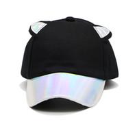 Fashion Fluorescent Cat Ears Baseball Cap Stitching PU Brim Bright Color Hat  For Women Cotton Men s Cap Visor ac0033104b02