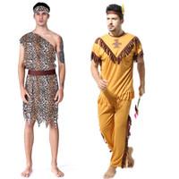indian passt frauen großhandel-Party Cosplay Bühnenkostüm Halloween Thema Original Savage Indigene Indische Leoparden Kleidung Anzug Erwachsene Männer Frauen Leopard Savage Kleid Set