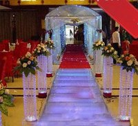 Wholesale led light beads white resale online - Wedding Crystal Pillar With Beautiful Acrylic Bead Wedding Road Lead Stand With LED Light