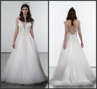 Wholesale wedding dress princess pnina resale online - 2019 New Pnina Tornai Princess Wedding Dresses V Neck Backless Lace Beach Bridal Gowns Sweep Train Tulle Beach Wedding Dress Cheap