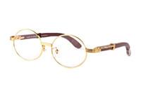 quadros pretos para homens venda por atacado-2019 marca designer black chifre de búfalo óculos homens rodada círculo lentes óculos de armação de madeira mulheres sem aro óculos de sol com boxse