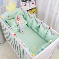 Wholesale baby bedding set pcs crib resale online - 4 Luxury Crown Design Baby Appease Bedding Set Fresh Green Cotton Crib Bedding Kit Include Bumper Bed Sheet Multi Sizes