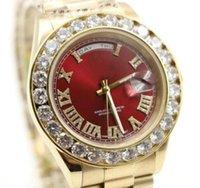 18 herren-diamant-uhr großhandel-2019 18 Karat Gold Genf Herren Diamanten Zifferblatt Big Diamond Bezel Automatische Armbanduhr Herren Limited Edition Uhren