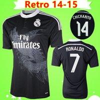 camisa do dragão venda por atacado-Ronaldo Chicharito Benzema Bale Isco james 2014 2015 Real Madrid retro camisa de futebol 14 15 terceira camisa de futebol preto do vintage dragão Chinês