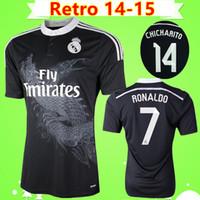 ejderha mayosunu toptan satış-Ronaldo Chicharito Benzema Balya Isco james 2014 2015 Real Madrid retro futbol forması 14 15 vintage üçüncü siyah futbol gömlek Çin ejderha