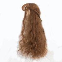peruca de cabelo longo falso venda por atacado-26 '' Longo Kinky Peruca de Cabelo Resistente Ao Calor Perucas Sintéticas Para As Mulheres Natural Cabelo Falso Com Parte Médio Do Cabelo
