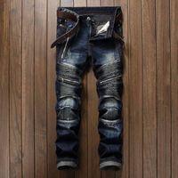 mens deri fermuarlı sıska pantolon toptan satış-Yüksek kaliteli yaz pantolon Düz streç pileli fermuar Erkek Giyim tops Kot Slim Fit stilleri Moda Hip hop Tasarımcı Deri Nedensel