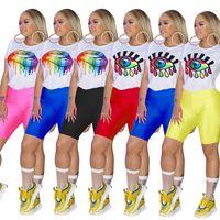 Wholesale yoga pants rhinestones resale online - Women Big Lips Eye Print Tracksuit T Shirt Shorts Pants Set Summer Sport Suit Ladies Pieces Outfits Sportswear Yoga Clothes A32701