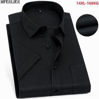 erkek kısa kollu gömlek resmi toptan satış-Yaz siyah gömlek erkekler büyük artı boyutu büyük 8XL resmi kısa kollu gömlek ofis erkek elbise iş gömlek 10XL 12XL 140 KG 150 KG