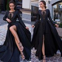 siyah uzun kollu bateau elbisesi toptan satış-Tasarımcı Siyah Dantel Gelinlik Ceket Ile Bateau Boyun Uzun Kollu Abiye giyim Kat Uzunluk Artı Boyutu Saten Örgün Elbise