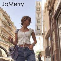 полая блузка оптовых-Jamerry Boho Белая женская рубашка с рюшами и выдалбливаемыми топами Женщина на шнуровке Модная уличная блузка Леди Топ Q190508