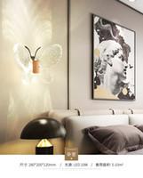 modernos, parede, luzes, quarto venda por atacado-Luminária de parede LEVOU moderno e minimalista de cristal lâmpada de cabeceira quarto criativo sala de estar escadas corredor borboleta lâmpadas de iluminação