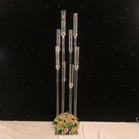 große kerzen großhandel-Blumen Vase 8 Köpfe Kerzenhalter Kulissen Acryl hohe Kandelaber Kerzenhalter Hochzeit Tischdekoration Blumenständer Kandelaber