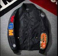 bombardıman ceketi yeezus toptan satış-Ma1 bombacı ceket ince beyzbol üniforma kanye yeezus erkek ceket arı nakış yaka ceket