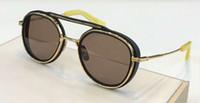 óculos amarelos venda por atacado-Matte Black Gold Yellow / Dark Brown Pilot Óculos De Sol 19017 Unissex Óculos De Sol Eyewear Novo com caixa