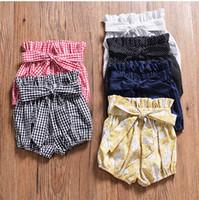 höschen blüht großhandel-Günstige INS Babykleidung Bloomers Bow Bum Shorts Plaid Dots Sweet Panties PP Shorts Kleinkind Kinderkleidung Großhandel 2019