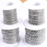 Wholesale metal chain for jewelry making resale online - Shukaki meters roll x2mm x2 mm x3mm x4mm Stainless Steel Link Metal Necklace Chains For Jewelry Making