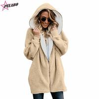 abrigo de piel de talla grande al por mayor-Abrigo de invierno para las mujeres Chaqueta de lana de piel sintética Sherpa forrado con cremallera con capucha Cardigan Womens Plus Size Fashions Cape Coat