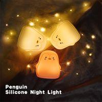 ingrosso luce pinguino-Sette colori Lampada in silicone Pinguino carino Luce notturna Luci a LED Lampade di induzione di ricarica USB Regali per bambini 29 5yj O1