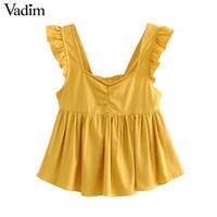 blusa amarela sem mangas venda por atacado-Vadim mulheres doce amarelo sólidos ruffles lace up V neck blusa de espaguete cintas sem encosto feminina tops chiques sem encosto WA349