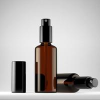 15ml kehribar rengi toptan satış-50 adet / grup 10 ml 15 ml 20 ml 30 ml 50 ml basın Kahverengi cam sprey şişe Amber Enssential Yağ şişeleri, Dispay Saklamak Örnek Şişeleri