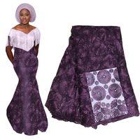 vestidos de tela india al por mayor-Diseño indio de encaje africano de George para vestido de novia nigeriano Tissu Gold Line Bordado George Lace Silk Fabric